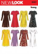 New Look Ladies Easy Sewing Pattern 6567 Fit & Flare Dresses