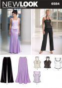 New Look Ladies Sewing Pattern 6584 Corset Tops, Skirt & Wide Leg Pants