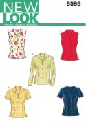 New Look Ladies Sewing Pattern 6598 Shirt & Blouse Tops