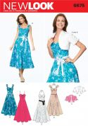New Look Ladies Sewing Pattern 6675 Sun Dresses, Tie Belt & Bolero Jacket