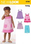 New Look Childrens Easy Sewing Pattern 6796 Dresses, Tops & Pants
