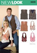 New Look Ladies & Mens Sewing Pattern 6839 Waistcoats
