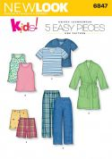 New Look Childrens Easy Sewing Pattern 6847 Pyjamas & Dressing Gown