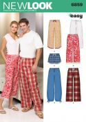 New Look Ladies & Men's Easy Sewing Pattern 6859 Pyjama Bottoms Pants & Shorts