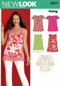 New Look Ladies Easy Sewing Pattern 6871 Summer Tops & Blouses