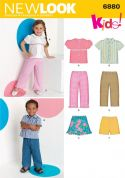 New Look Childrens Easy Sewing Pattern 6880 Tops, Skirts, Shorts & Pants