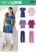 New Look Ladies Sewing Pattern 6983 Tunic Tops & Cropped Pants