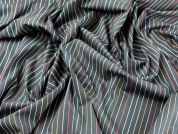 Stripe Shirting Cotton Dress Fabric  Black Multi