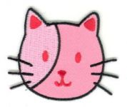 Craft Factory Iron or Sew On Fabric Motif Applique Pink Kitten