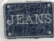 Craft Factory Iron or Sew On Fabric Motif Applique Jeans Plaque Blue