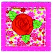 Craft Factory Iron or Sew On Fabric Motif Applique Pink Quilted Rose