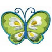 Craft Factory Iron or Sew On Fabric Motif Applique Green Butterfly