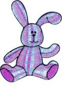 Craft Factory Iron or Sew On Fabric Motif Applique Pink Checked Bunny