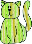 Craft Factory Iron or Sew On Fabric Motif Applique Green with Yellow Stripe Cat