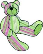 Craft Factory Iron or Sew On Fabric Motif Applique Green & Pink Stripe Bear
