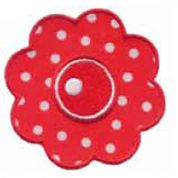 Craft Factory Iron or Sew On Fabric Motif Applique Polka Dot Red Flower