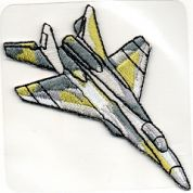 Craft Factory Iron or Sew On Fabric Motif Applique Fighter Plane