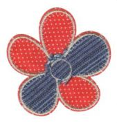 Craft Factory Iron or Sew On Fabric Motif Applique Checked Flower