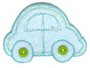 Craft Factory Iron or Sew On Fabric Motif Applique Blue Car