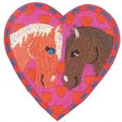 Craft Factory Iron or Sew On Fabric Motif Applique Horses in Heart