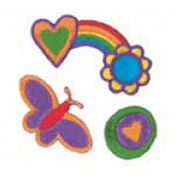 Craft Factory Iron or Sew On Fabric Motif Applique Rainbow, Hearts, Butterfly, Flower