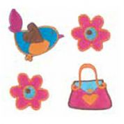 Craft Factory Iron or Sew On Fabric Motif Applique Flowers, Bird, Bag