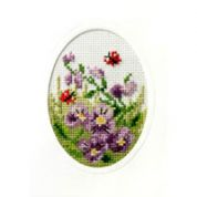 Orchidea Embroidery Cross Stitch Card Kit Pansies