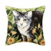 Orchidea Cross Stitch Cushion Kit Cat