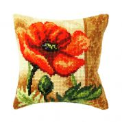 Orchidea Cross Stitch Cushion Kit Poppy