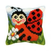 Orchidea Cross Stitch Cushion Kit Ladybird