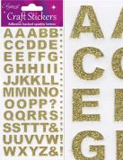 Oaktree Bold Alphabet Glitter Stickers  Gold