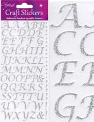 Oaktree Stylised Alphabet Glitter Stickers  Silver