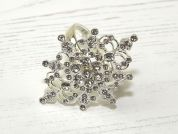 Rhinestone Diamante Napkin Ring  Silver Clear