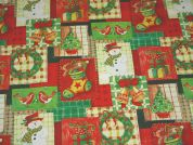 Christmas Patchwork Print Plastic Coated PVC Table Protector Fabric