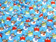 Funky Snowman Print Christmas Cotton Fabric  Blue