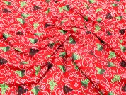 Xmas Trees & Ribbons Christmas Cotton Fabric  Red, Green & White