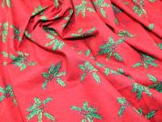 Traditional Holly Print Christmas Cotton Fabric  Red