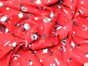 Happy Santa Print Christmas Cotton Fabric  Red