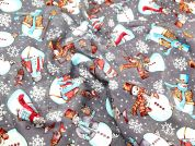 Frosty the Snowman Print Christmas Cotton Fabric  Grey