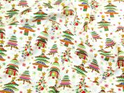 Colourful Christmas Trees Print Christmas Cotton Fabric  Multicoloured