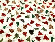 Fun Festive Christmas Tree Print Christmas Cotton Fabric