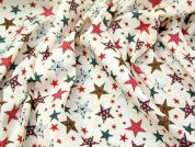 Decorative Stars Print Christmas Cotton Fabric  Cream
