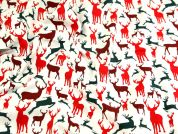 Silhouette Stags Print Christmas Cotton Fabric  Red & Green