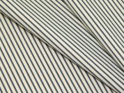 Portuguese Pinstripe Stretch Shirting Dress Fabric  Beige & Blue