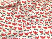 Christmas Pudding Print Polycotton Dress Fabric  Red & Green