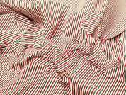 Christmas Candy Stripe Print Polycotton Dress Fabric  Red, White & Green