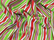 Christmas Spotty Stripes Print Polycotton Dress Fabric  Multicoloured