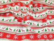 Christmas Stripe Print Polycotton Dress Fabric  Red & Green