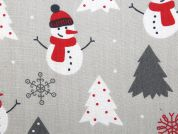 Christmas Snowman Print Polycotton Dress Fabric  Grey