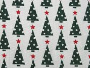 Christmas Tree Print Polycotton Dress Fabric  Green